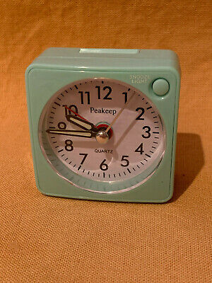 PEAKEEP Ultra Small Battery TRAVEL ALARM CLOCK, Snooze, Glowing Hands, Silent