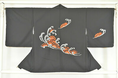 Vintage Japanese Ladies' Black Kimono Haori Jacket 'Waves, Wheels & Flowers' M/L