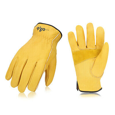 Vgo 1/3/12/24Pairs Palm Patched Cow Leather Work Gloves,Driver Gloves(CA9590)
