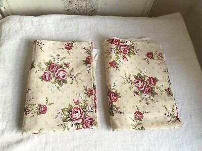 Vintage French Fabric, Pink & White Floral Textile Roses & Bouquets Furnishings