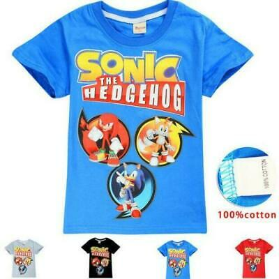 Sonic The Hedgehog Kids T-shirt Unisex Girls/Boys Short Sleeved Top - Size 3 -10