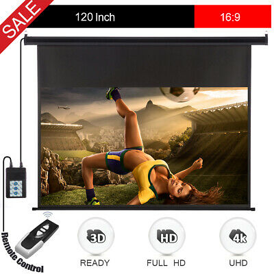 """120""""16:9 Wall Ceiling Electric Motorized HD Projector Screen with Remote Control"""