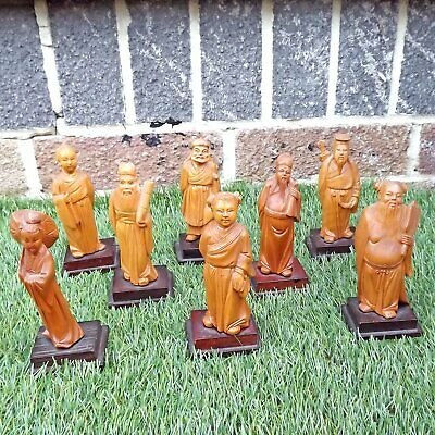Complete Set 8 Carved Immortals Chinese Cultural Revolution Boxwood Carving
