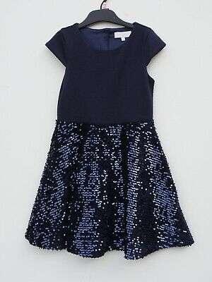 2 pc bundle JASPER CONRAN Girls Navy Sequin Occasion Dress & Cardigan age 6-7