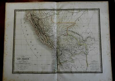 South America Peru detailed upper & lower 1829 Lapie large folio map