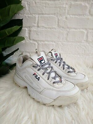 Ladies FILA Disruptor II White Trainers Size 7.5 / 41.5 Unisex Chunky Sneakers 2