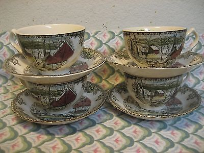 Johnson Bros England FRIENDLY VILLAGE 4 CUP  &  4 SAUCER   EUC  MINTY!