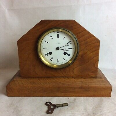 Vintage French Art Deco Wooden Mantle Clock For Repair By Vincenti