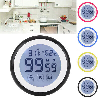 screen timer alarm temperature and humidity meter.