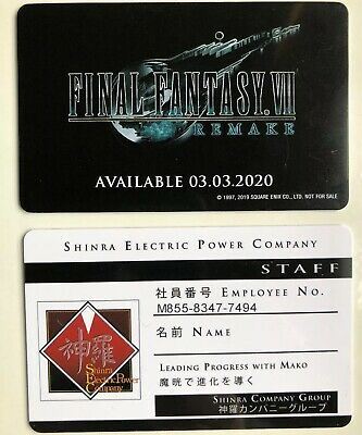 Final Fantasy 7 VII FF7 Remake Shinra Electric Power Company Staff Employee Card