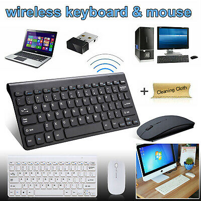 2.4GHZ USB Wireless Slim Keyboard For PC Laptop and Cordless Mouse Combo Kit Set