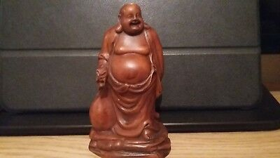 Chinese Boxwood Buddha home decor Hand-Carved wealth art statue figure ornament