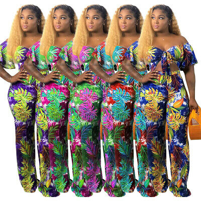 2020 Summer Women Short Sleeves Floral Casual Boat Neck Wide Legs Jumpsuits 2pcs