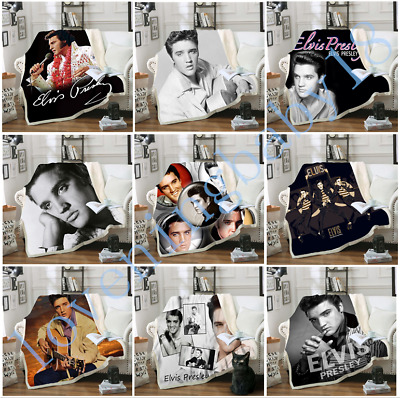 New Stars Elvis Presley 3D Print Sherpa Blanket Sofa Couch Quilt Cover Throw B15