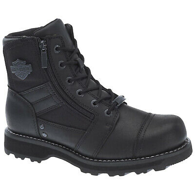 Harley Davidson Bonham Leather Motorcycle Riding Dual Zipper Ankle Mens Boots