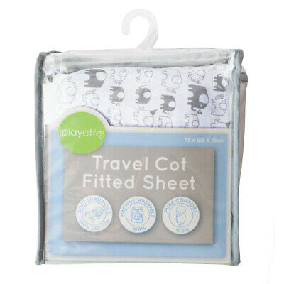Playette Travel Cot Fitted Sheet - Printed Elephant -  Baby/Infant/Toddler