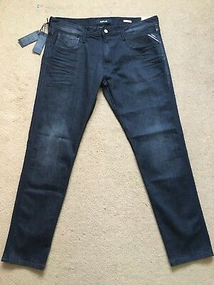 REPLAY Jeans Waitom w36//l32 11,5 OZ Deep BLUE DENIM JEANS UOMO NUOVO