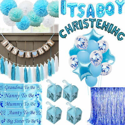 IT'S A BOY Baby Shower Mummy To Be Sashes Balloon Bunting Photo Props Pompoms UK