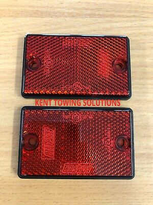 X2 Maypole Radex Red Rectangular Trailer Caravan Drilled Reflector 77mm x 46mm !
