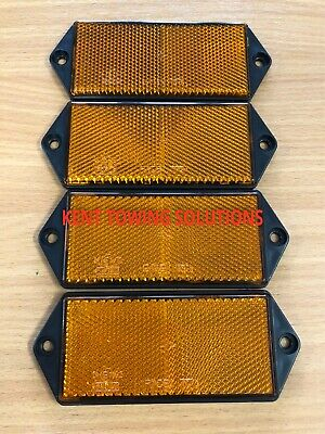 X4 New Radex Amber Orange Rectangular Trailer Caravan Car Reflector 127mm X 50mm