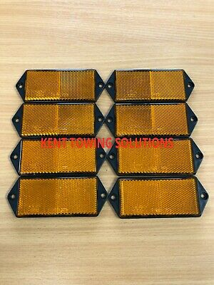X8 New Radex Amber Orange Rectangular Trailer Caravan Car Reflector 127mm X 50mm