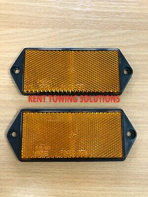 X2 New Radex Amber Orange Rectangular Trailer Caravan Car Reflector 127mm X50mm
