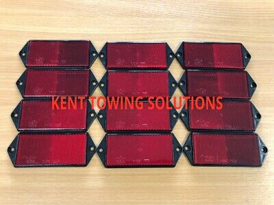 X12 New Radex Red Rectangular Trailer Caravan Horse Box Car Reflector 127mmX50mm