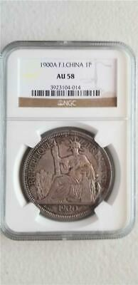 French Indochina 1 Piastre 1900A NGC AU 58