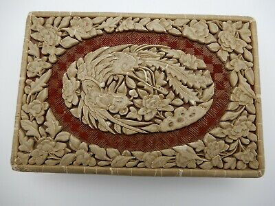Antique Chinese Hand Carved Cinnabar & Lacquer Red White Trinket Box 4 X 8 Inch