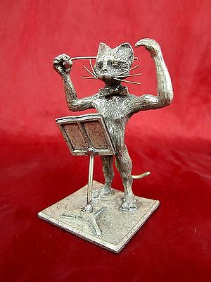 Old Pewter Conductor Cat Michel Laude Signed France Etain 95,5% Tin