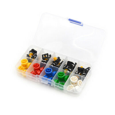 25Set Momentary Tactile Push Button Touch Micro Switch 4P PCB Caps 12x12x7.3  ML
