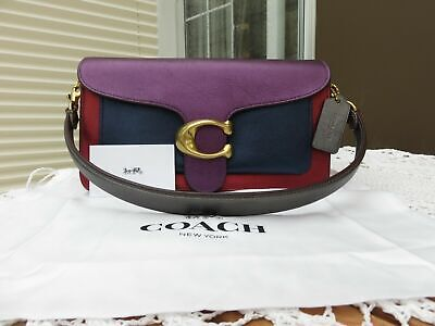 COACH Metallic TABBY 26 colorblock long & short graphite pewter strap Leather