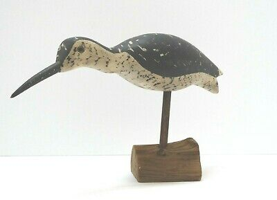 Unmarked SHORE piper BIRD DECOY on driftwood base w dowel HAND CARVED & PAINTED