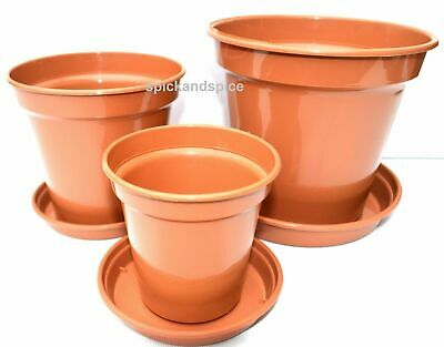 "Made In UK 3"" 4"" 5"" Terracotta Colour Plastic Plant Pots  Saucers Water Tray"