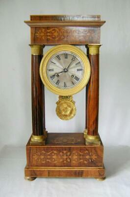 Fine C19th French Rosewood & Ormulu Portico Mantle Clock in Working Order