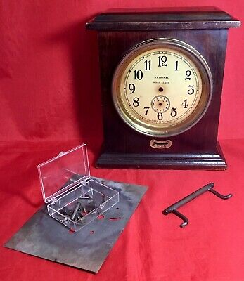 Antique Vintage National Clock Wood Cased 8 Day Alarm Parts or Repair Project