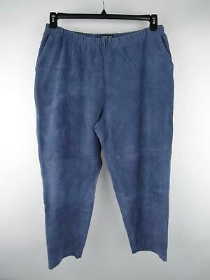 Lands' End Womens sz XL Solid Blue Pull-On Cotton Stretch Tapered Corduroy Pants