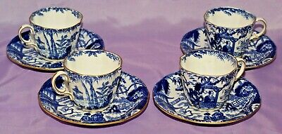 Four [4] 1927 Royal Crown Derby BLUE MIKADO Tea Cup & Teacup And Saucer Saucers