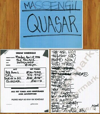 Beastie Boys Quasar Tour Ad-Rock Handwritten Set List + Dressing Rm Sign 1996