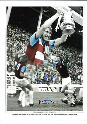 Billy Bonds and Alan Taylor West Ham signed authentic football photograph SS678A
