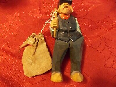 Carved Wood Flat Plane Caricature Hobo With Cloth Bag, Sweden Dated 1950