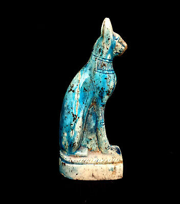 Bast Amulet Ancient Egypt Antiques Glazed Stone Hieroglyphic Bastet Cat Figurine