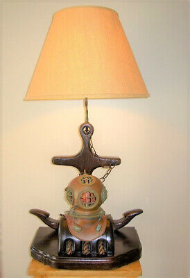 Vintage Nautical Wooden Anchor Lamp With Pulley & Diving Helmet