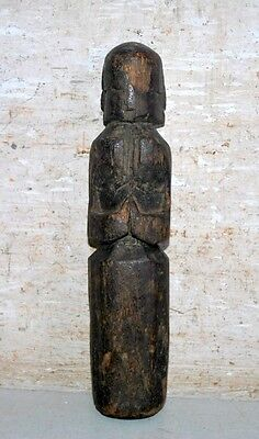 Old Antique Indian Wooden Tribal Lady Statue Hand Carved  Decorative Putali
