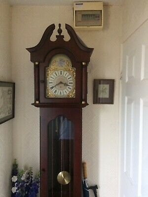 Antique Reproduction Grandfather Clock Tempus Fugit Westminster Chimes