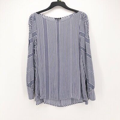 Massimo Dutti Womens Blouse Blue White Striped Long Sleeve Boat Neck Top 12