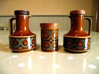 Vintage Hornsea Pottery Bronte Pattern Oil & Vinegar Jugs With Lids & Salt Pot