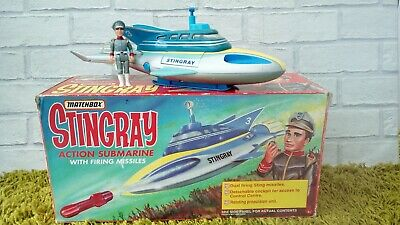 Vintage Gerry Anderson Matchbox Stingray Action Submarine Boxed with Figure