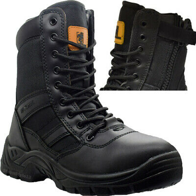 MENS MILITARY COMBAT POLICE ARMY CADET ZIP LEATHER NON SAFETY WORK BOOTS SHOES Z