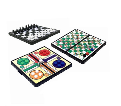 Mini Magnetic Travel Board Games - Snakes and Ladders, Ludo, Chess